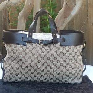 Auth Gucci large GG canvas leather tote
